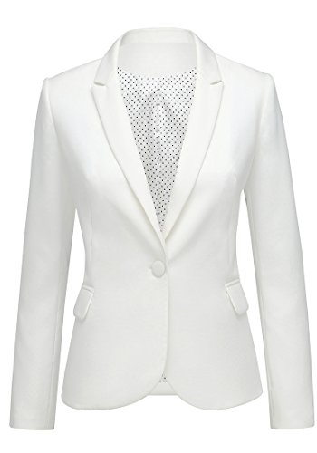 Lookbook Store Women's White Notched Lapel Pocket Button Work Office Blazer Jacket Suit Size M