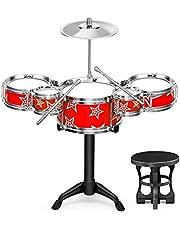 Children Jazz Drum Toy Cymbal Sticks Rock Set Musical Hand Drum DIY (Color : Red)