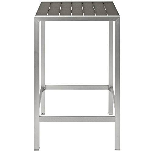 Modway Shore Aluminum Outdoor Patio Square Bar Table in Silver Gray by Modway (Image #2)