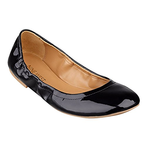 Nine West Andhearts Womens Ballet Flats, Black Synthetic, 38 B(M) EU/6 B(M) UK