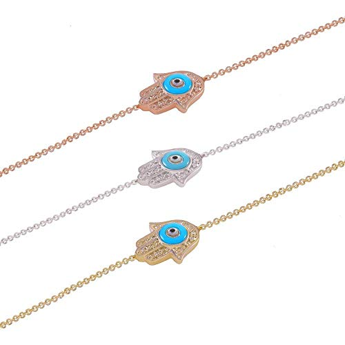 (TousiAttar Hamsa Hand Bracelet Gold - Diamond Evil Eye Bracelets - Real 14k Solid Yellow Rose White - 0.08 CT White Diamond - Nice jewelry Gift for women and Her )
