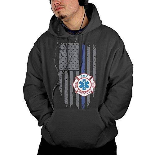 EMT Firefighter Maltese Cross Thin Blue Line Men's Hoodie Pullover Hoodie Sweatshirt with Pocket