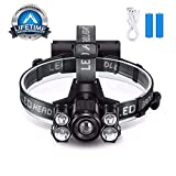 Lihebcen Rechargeable Headlamp, 10000 Lumens IPX5 Waterproof LED Headlamp with 5 Working Modes, Zoomable Headlamp Flashlight for Adults, Camping, Hiking, Outdoors