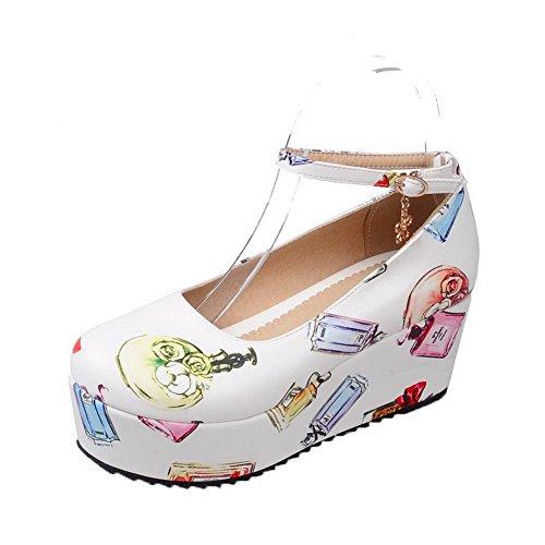 AgooLar Damen Mittler Absatz Mikrofaser Cartoon Pattern Schnalle Pumps Schuhe Weiß