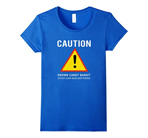Womens Candy Bandit Caution T-Shirt Funny Halloween Quick Costume XL Royal (Funny Quick Halloween Costumes)