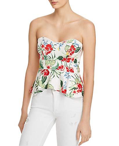 Bardot Women's Tropical Print Bustier Top, Orange/Red Tropical, Size 10 / Large