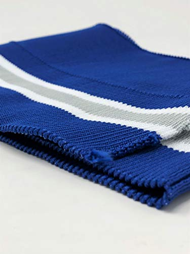(Rib Knit Fabric Polyester Royal Blue/White Grey Stripes)