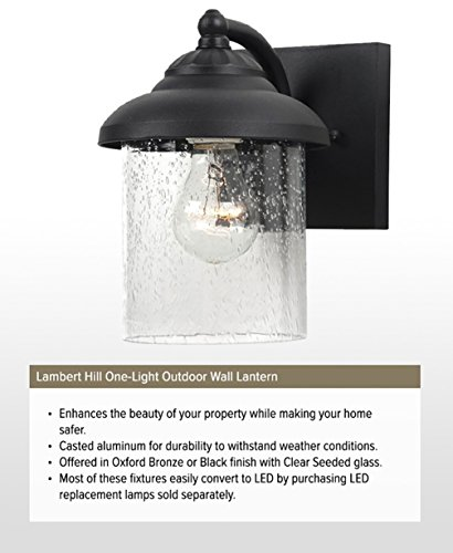 Sea Gull Lighting 84068-12 Lambert Hill One-Light Outdoor Wall Lantern with Clear Seeded Glass Shade, Black Finish by Sea Gull Lighting (Image #3)