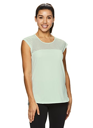 Nicole Miller Active Women's Mesh Workout Cap T Shirt - Performance Gym & Yoga Tee - Laser Lily Pad Green, Small (Miller Nicole Bras)