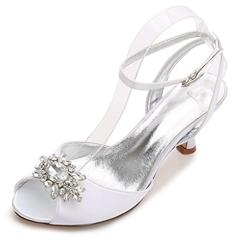 L@YC Women Wedding Shoes D17061-59 Rhinestone Low Mid Cat With Evening Party Open Toe Formal Classic Shoes White