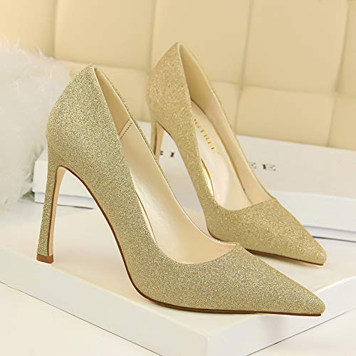 Shoes alto Silver zapatos High Heels Yukun Shoes Shoes Gold Pointed tacón Gold Sequined de Crystal Women's Wedding 39 Wedding Gradient wq6qt4Bn