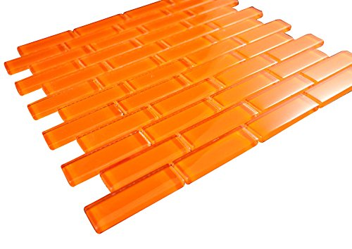 1x3 Glossy Orange Subway Glass Mosaic Tiles for Bathroom and Kitchen Walls Kitchen Backsplashes By Vogue Tile (Free Shipping)
