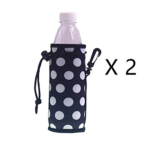 E - Living 500ML (16.9 OZ) Collapsible Printed Neoprene Water Bottle Drawstring Cooler / Coolie / Cover / Insulator / Holder / Huggie / Sleeve - 2 Pack (12 Colors) (White Dots) White Dots Water Bottle