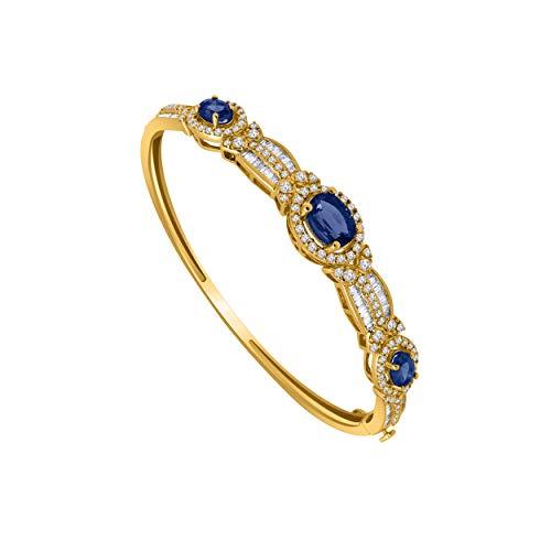 10K Yellow Gold Multi-Shape Gemstone & 1.61 Ct Diamond 3-Stone Style Halo Bangle Bracelet (blue-sapphire & real diamond)