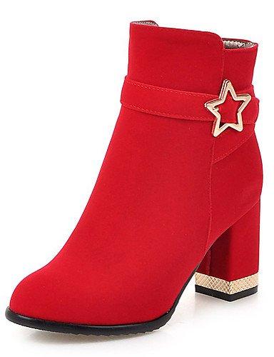 Blockabsatz Damen 5 Kunstleder cn33 Kleid Modische Rot 5 Stiefel us4 4 Schwarz XZZ uk2 Stiefel eu34 red 2 Rundeschuh F1wIA