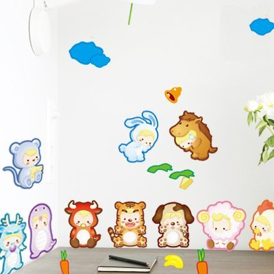 Good Life Cartoon Twelve Chinese Zodiac Signs and Cloud Wall Decals DIY Wall Decal Stickers