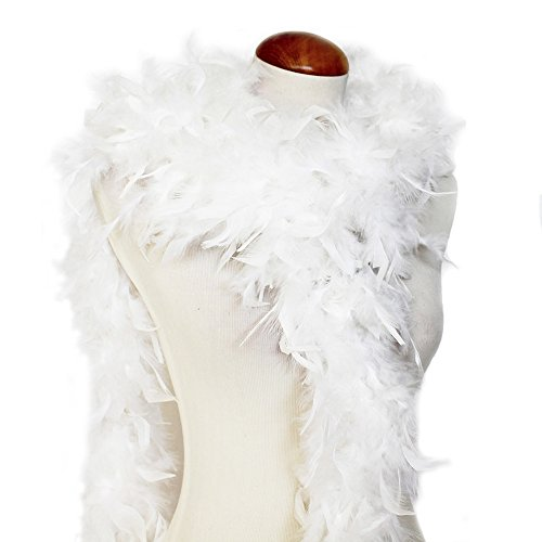 Cynthia's Feathers 65g Chandelle Feather Boas Over 80 Colors & Patterns to Pick Up (White)