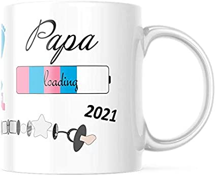 geschenke-fabrik.de - Taza con mensaje - Papa loading 2021 - Regalos para futuros papá/regalo para embarazadas - Embarazo - Baby loading - Taza papá 2021 regalo