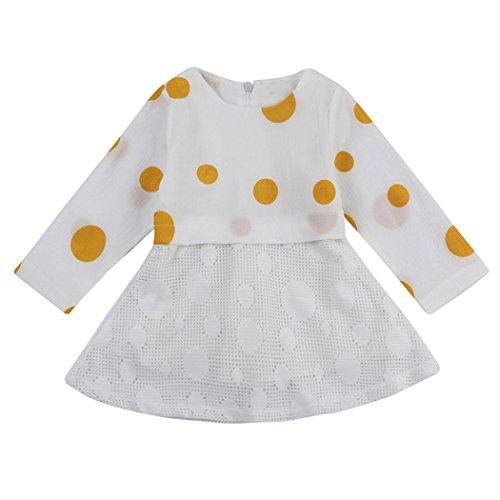Amlaiworld Baby Mädchen bunt blumen langarm Spitze kleider Niedlich kinder Flickwerk tutu kleidung für neugeborene,0-36Monate E
