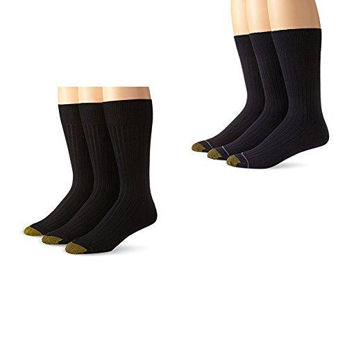 Gold Toe Men's Classic Canterbury Crew Socks (Pack of 6), Black/Navy, Shoe Size: 6-12.5