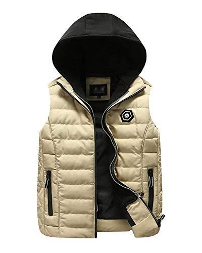 Thickening Rmellos Thickening Down Mens Color Unique Closure Vest Jacket Coat Kaki Breathable Slim Hooded Jacket Sport Vest Solid Vest ZtHxwrg7t