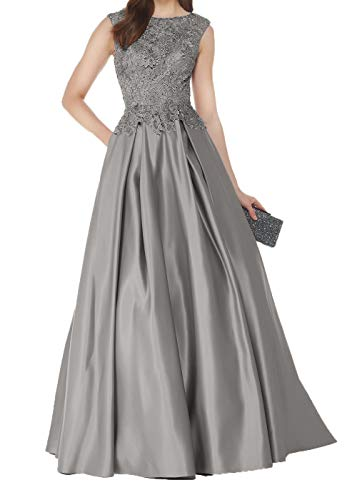 Abendkleider Satin Spitze Damen Fuer Lang Silber Brautmutterkleider Mutterkleider Partykleider Hochzeits Charmant 1xEHtwqBw