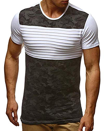 KENANCY Mens Crewneck Sweatshirt Casual Camouflage Printed Slim Fit Short Sleeve Tee Shirts White M