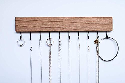 Cherry NATURAL Wood Wall Jewelry Organizer/Necklace Bracelet Handmade Holder Hooks Key Holder Hanging Stand Rustic Decor/Best gift idea / 10 black hooks bottom