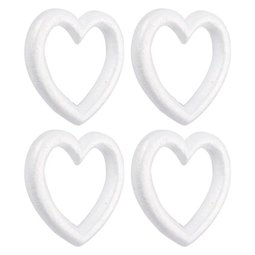 (Heart Shaped Foam Wreath - 4-Pack Polystyrene Foam Wreath, Open Heart Shaped - Extruded Heart Foam Wreath, DIY Supplies for Craft Projects and Wedding Decorations - White, 9.84 x 1.89 x 9.84 Inches )