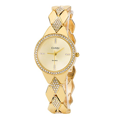 Ladies Crystal Bracelet Dress Wrist Watch for Women - Female Gold