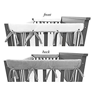 "American Baby Company Supreme 2 Pack Heavenly Soft Chenille Reversible Crib Rail Cover for Side Rails, Gray and White, Narrow for Rails Measuring up to 8"" Around"