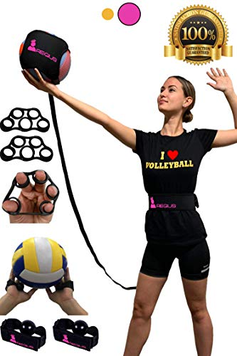 Regius Volleyball Training Equipment 3.0 - Premium Solo Trainer, Perfect for Beginners Practicing Serving, Setting and Spiking, Great Gift Idea - Pink