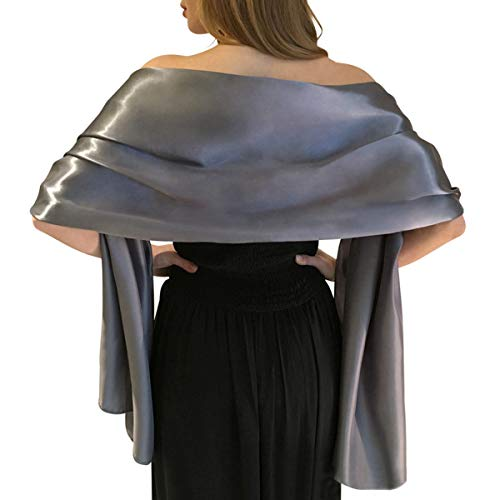 (Shawls and Wraps for Evening Dresses Extra Long Satin Scarf for Bridal Party/Special Occasion in Solid Colors by)