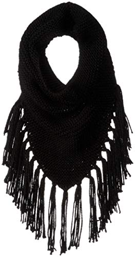 Steve Madden Women's Triangle Snood with Fringe, black ONE -