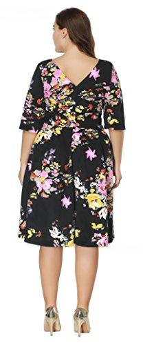Swing Plus Cocktail Sleeve 1950s Black Size Half Women's Backless Dresses Floral Party Bdxz4q