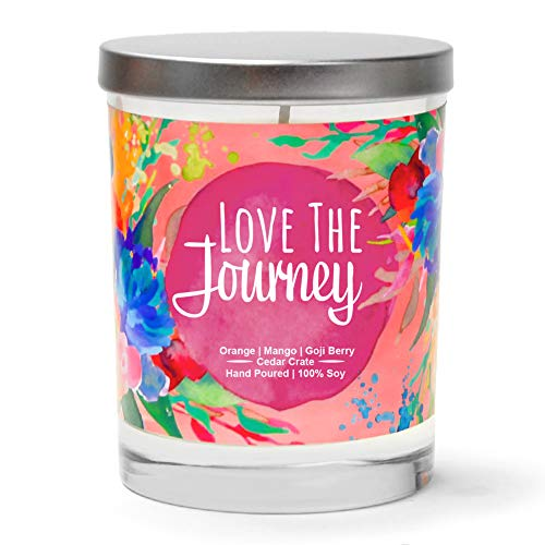 Love The Journey   Orange, Mango, Goji Berry   Luxury Scented Soy Candles   10 Oz. Jar Candle   Made in USA   Decorative Aromatherapy   Inspirational Gifts for Women   Thinking of You Gifts for Women ()