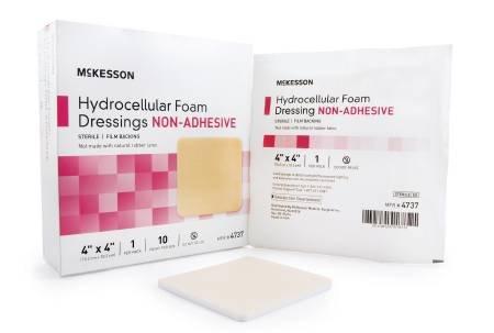 McKesson Foam Dressing Film 4 X 4 Inch Square Non-Adhesive Sterile (10 Per Box) Adhesive Hydrocellular Foam Dressing