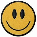 Smiley Happy Smile Face Embroidered Iron On Badge Applique Patch Kalan