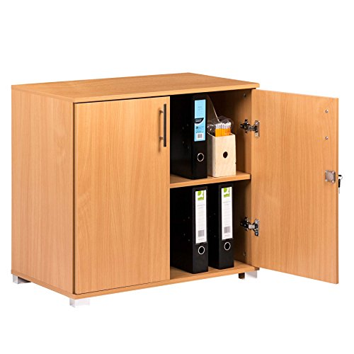 - Storage Cabinet Door Bookcase Filing Cupboard and Desktop Extension in Beech Effect Wood Laminate - Home or Commercial Office use