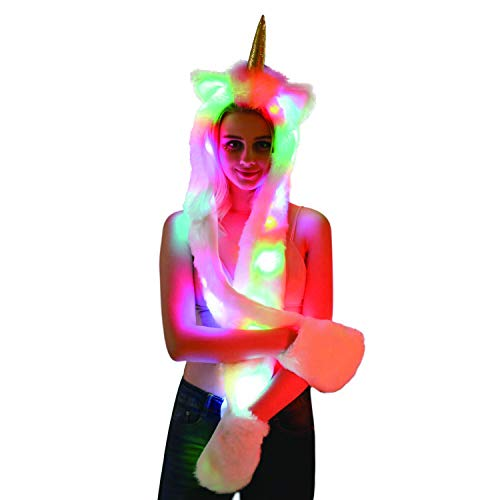 LED Unicron Animal Hat Spirit Hood Full Hat Scarf Pockets s 3 in 1 Ear Flat Cap Hoodie Furry Gloves Paws Mittens Party Costume Gift for Women Men Adult Teen Daughter Girlfriend -