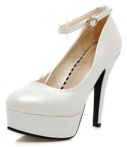 Easemax Womens Sexy Buckled Ankle Strap Platform Work Shoes Pointy High Heel Pump White UGOGAqvrX