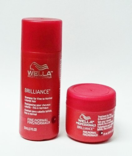 Wella Brilliance Shampoo 1.7 oz + Brilliance Treatment 0.84 oz. for Fine/Normal Colored Hair Travel Size Set by Wella