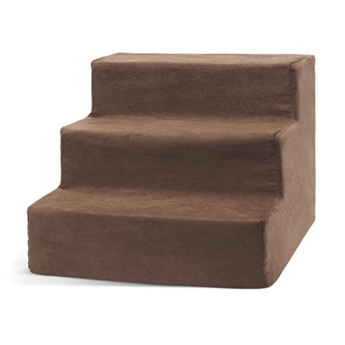 Delxo High Density Foam 3 Tier Pet Stairs,Comfy Micro Suede Pet Steps with Machine Washable Zippered Removable Cover with Anti-Slip Black Dot Bottom Loads 44lbs Coffee Brown (3-Step, Coffee Brown)