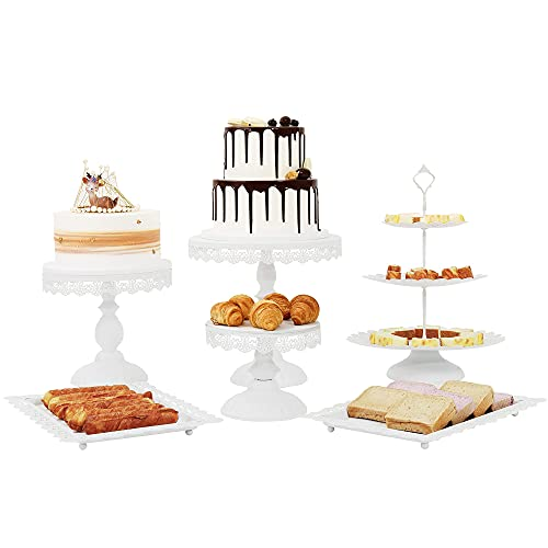 LIFESTIVAL 6 Pcs Cake Stands Set Metal Cupcake Holder Matte White Dessert Table Display Plate Serving Tray for Baby Shower Wedding Birthday Party Celebration Home Decor