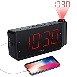 DreamSky Projection Alarm Clock Radio with USB Charging Port and FM Radio, 2 Large Led Number Display with Dimmer, Adjustable Alarm Volume, Snooze, Sleep Timer,12 Hrs Display, Plug in Clock.