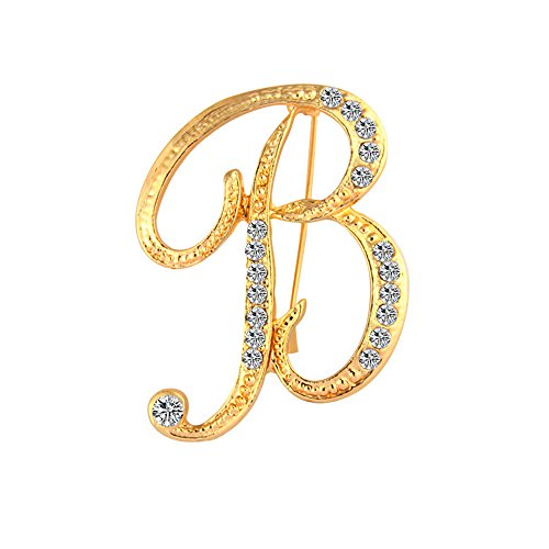 CHUYUN Alloy 26 Alphabet English Letters Crystal Initial Charms Brooch Pin for Men Women Gift Jewelry (B)