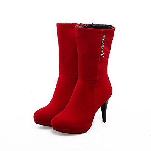 AgooLar Damen Rund Zehe Hoher Absatz Rein Reißverschluss Stiefel, Rot, 34