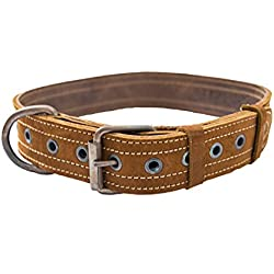 Leather Dog Collar For Medium Size Dog (10 to 19 Inches) Handmade by Hide & Drink :: Swayze Suede
