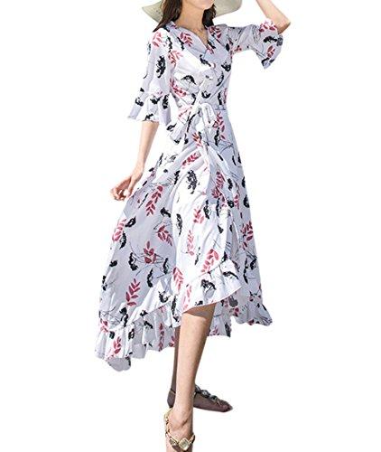 Sommer Lang Kleider mit Bandagen Damen Mode Bohemia Blumen Irregulär  Kleider Strandkleider Urlaub Blusenkleider Sexy V bb86b656d3