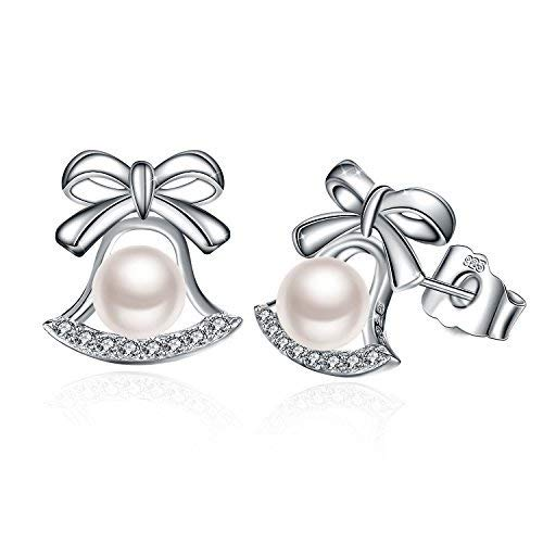 J.Rosée Earring With 925 Sterling Silver And White Freshwater Cultured Pearl Love Heart Stud Earrings/Cubic Zirconia Small Hinged Hoop Earrings (Pearl Earring)